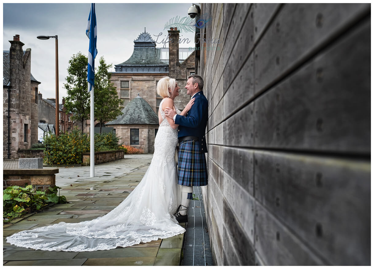 photo of newly married couple on Wedding day at Helensburgh Civic Centre Argyll and Bute Elopement Wedding