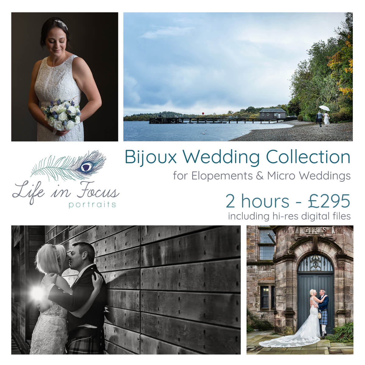 wedding photos and pricing for micri wedding Loch Lomond and Helensburgh