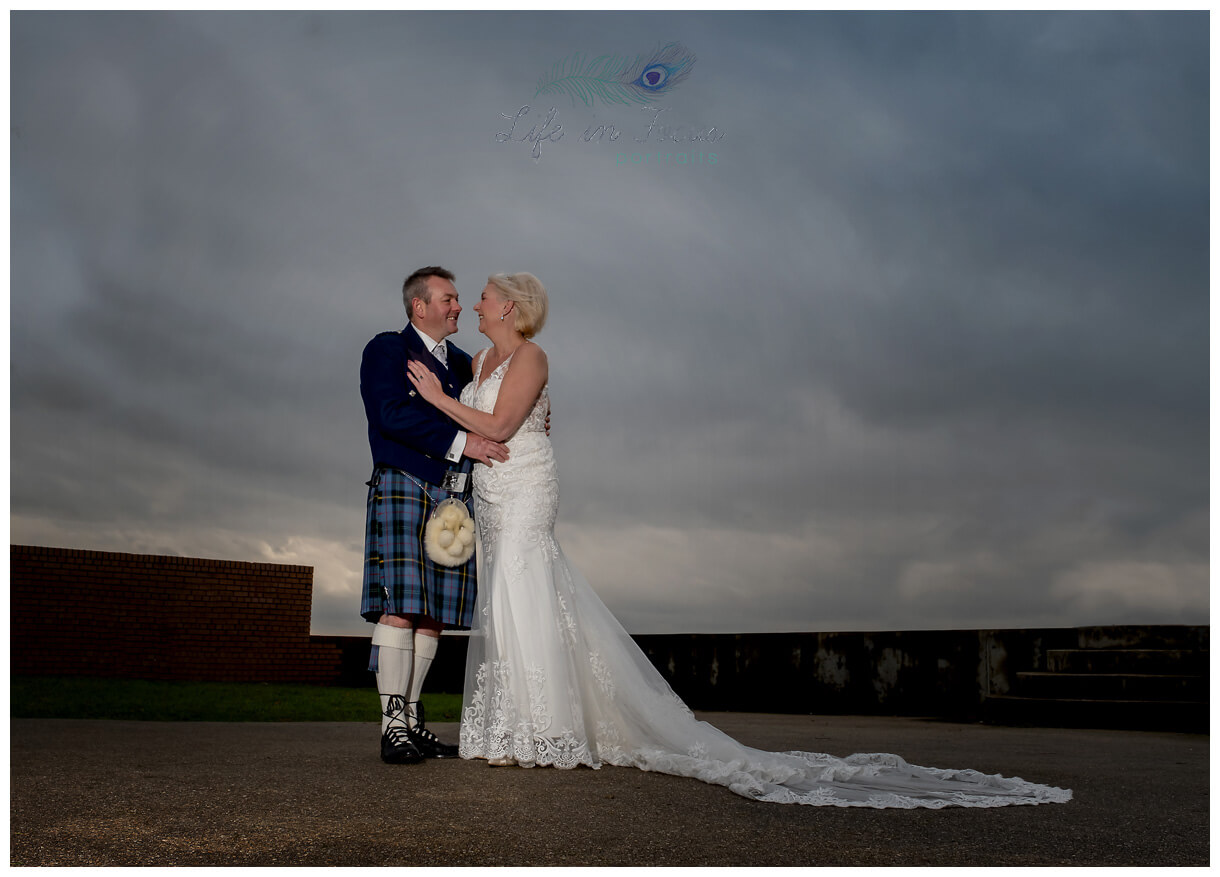 photo of Bride and Groom outside Helensburgh Civic Centre Secret Elopement Wedding