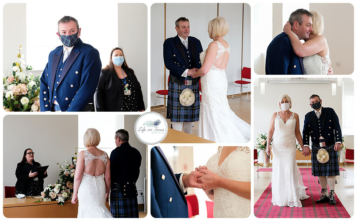 photos of marriage ceremoney at HelensburghCivic Centre with Argyll and Bute Registrar Secret Elopement Covid Wedding