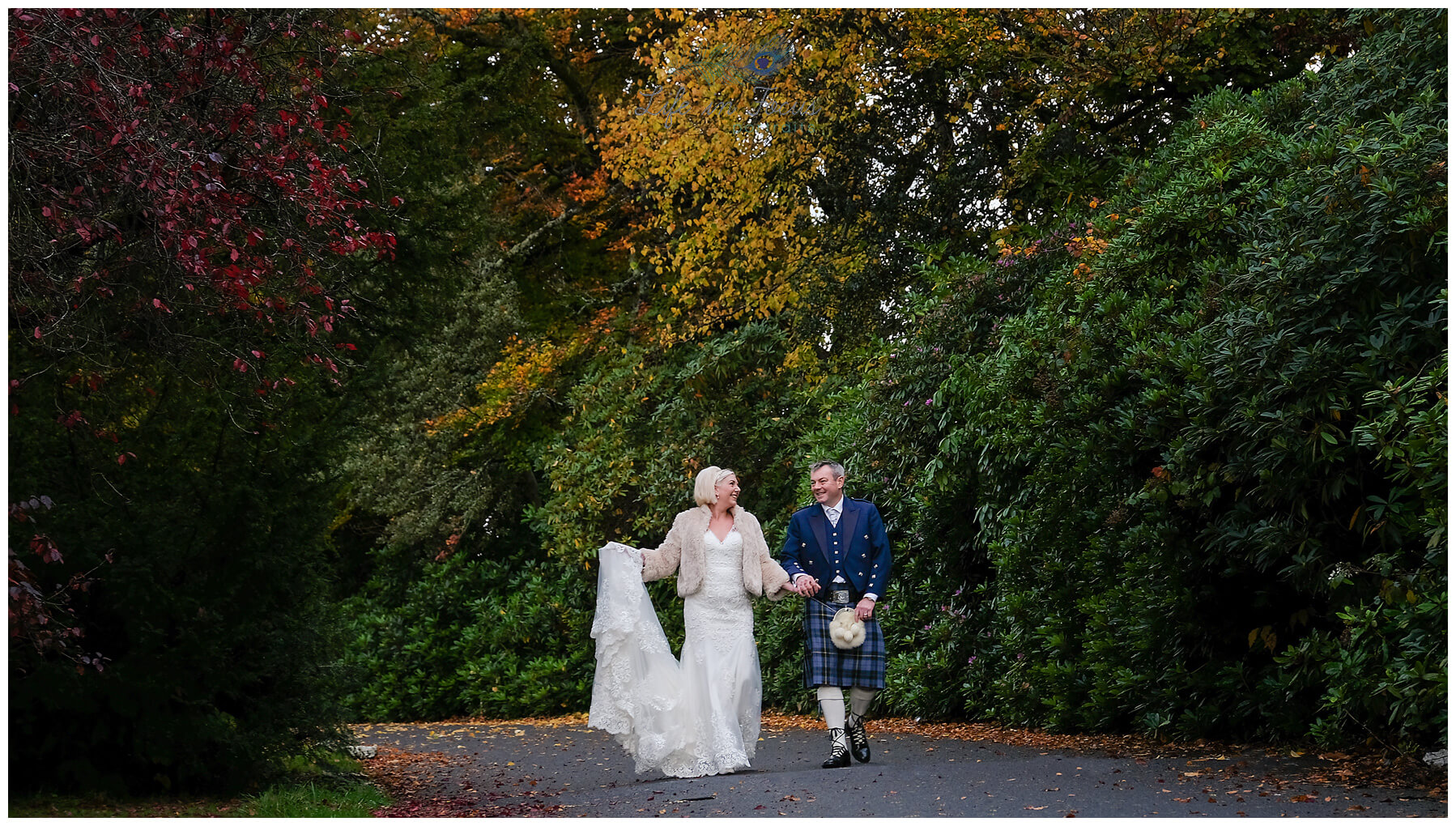 wedding photo Bride and Groom amidst Autumn colours secret micro Wedding Rhu Helensburgh