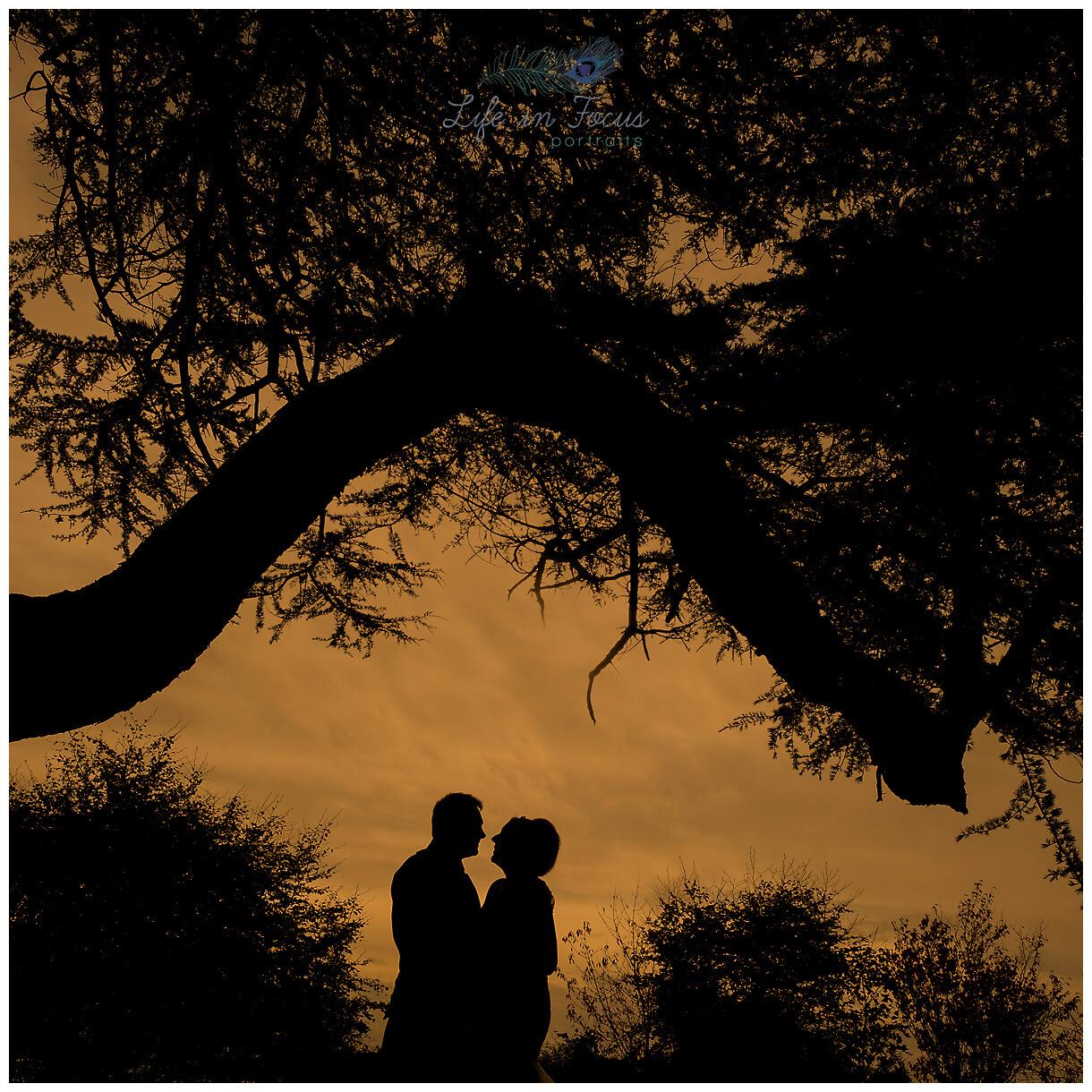 silhouette photo of bride and groom elopement micro wedding Rhu Helensburgh