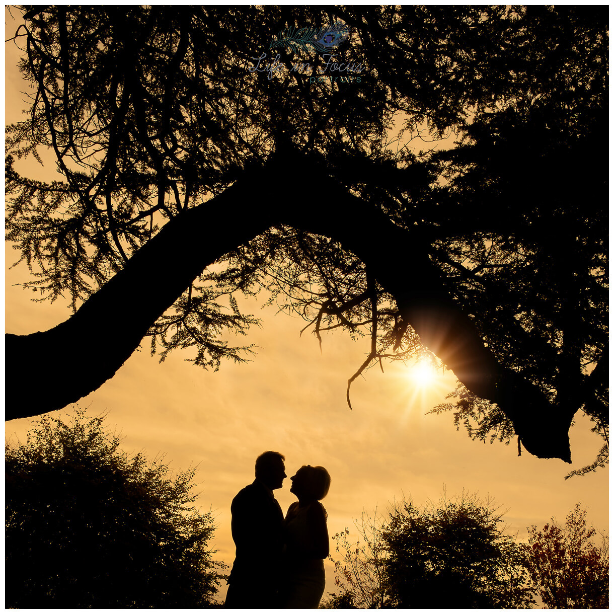 sunset silhouette photo of bride and groom on wedding day Rhu Helensburgh Elopement Micro Wedding