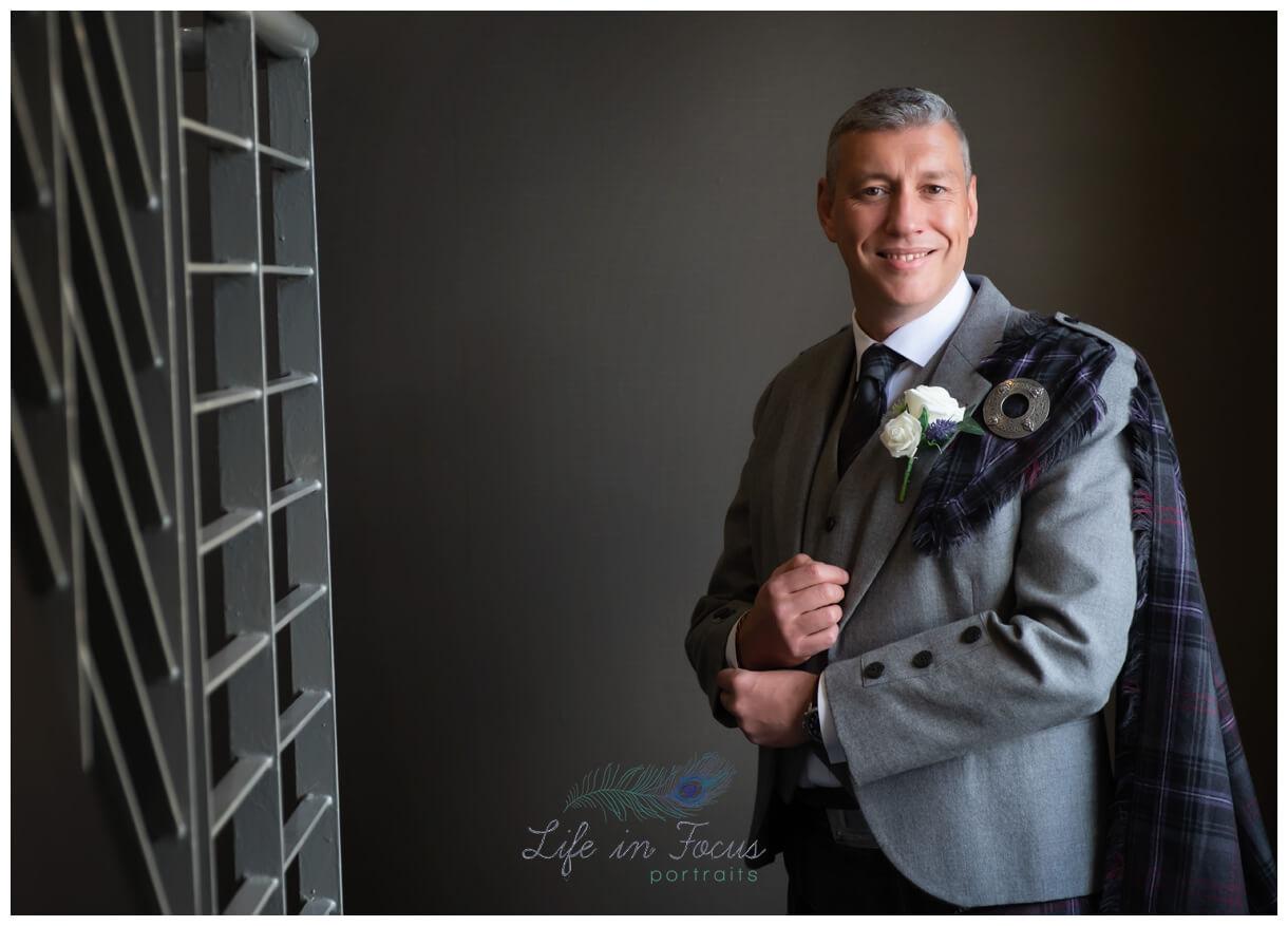 groom portrait wedding day photo Lodge on Loch Lomond