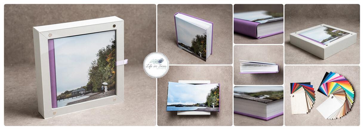 Photos of wedding album with bride and groom at Luss Pier Loch Lomond