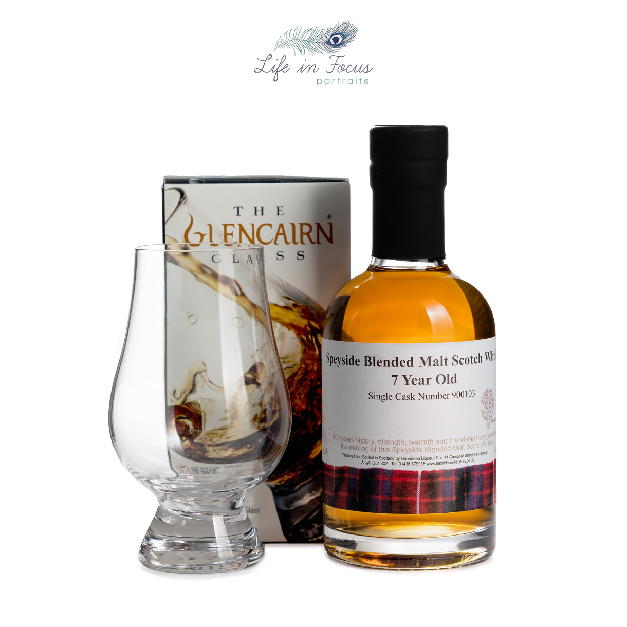 product photography hebridean liqueurs whisky with boxed glencairn glass