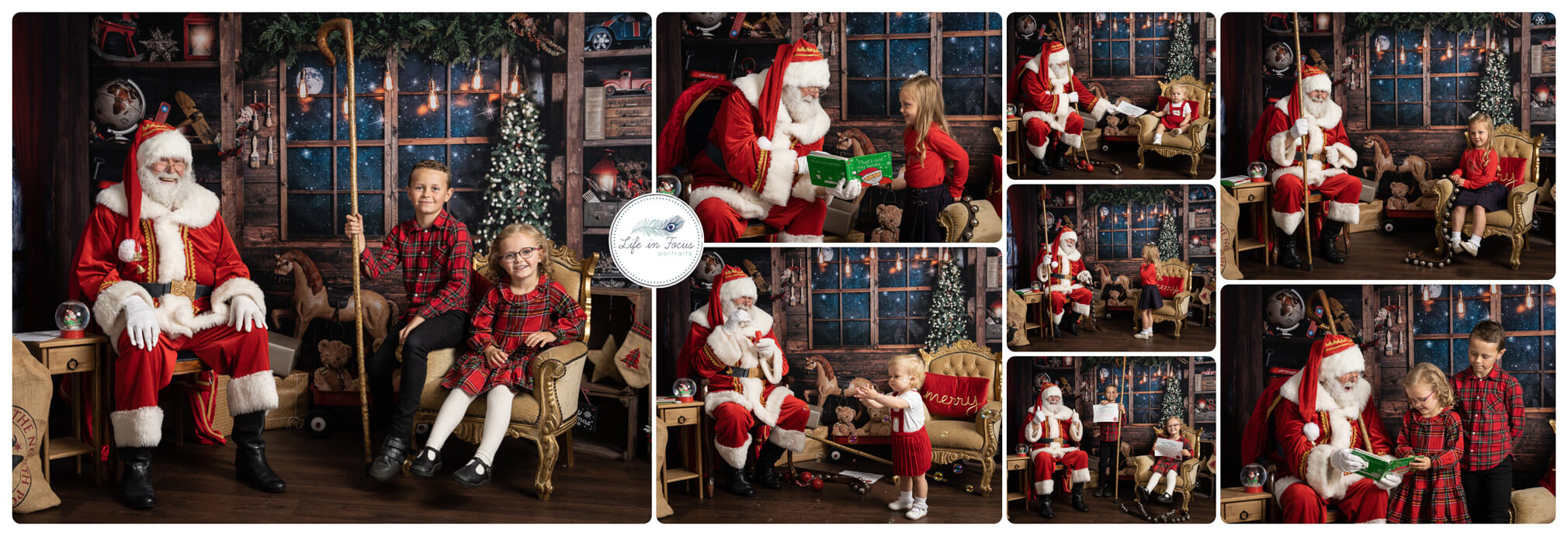 collage of photos of Santa with Children at Christmas photo sessions Life in Focus Portraits Helensburgh family photographer